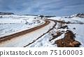 Mountains Dirt Road Mud Tracks Snow Landscape 75160003