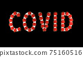 White text covid with red molecules of covid-19 on it on black background. 75160516