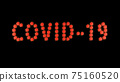 Inscription covid-19 of red molecules of covid virus on black background. 75160520
