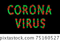 Green text corona virus with red molecules of covid-19 on black background. 75160527