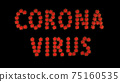 Inscription corona virus of red molecules of covid-19 virus on black background. 75160535