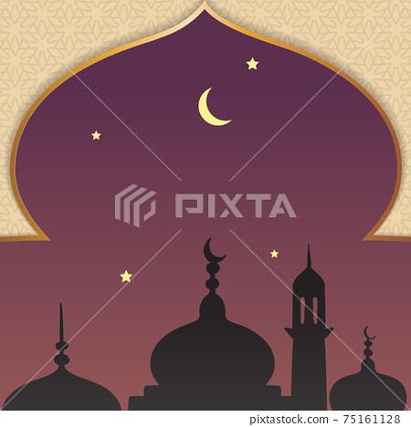 Al-isra wal mi'raj means the night journey of prophet muhammad background template 75161128