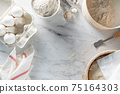 Homemade bread concept - ingredients on marble background 75164303