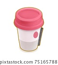 Cafe drink, a digital painting of pink paper cup of hot latte coffee for takeaway breakfast beverage isometric cartoon icon raster 3D illustration on white background. 75165788