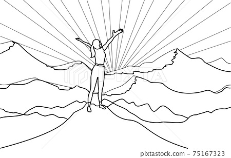 Line art drawing of successful woman hiker enjoy  the view with arms open on cliff edge top of mountain and sunshine background. 75167323