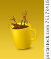 Yellow ceramic cup with splashes of coffee on yellow background for text 75173416