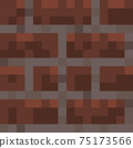 Pixel minecraft style bricks block background. Concept of game pixelated seamless square red brick background. Vector illustration 75173566