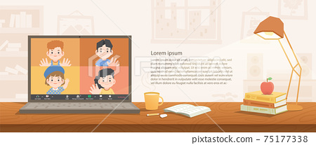a laptop desktop children video call social online group to connect together with friends from distancing place stay on the desk at home banner illustration vector. 75177338