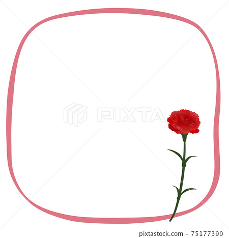 Red carnation and ribbon frame 75177390