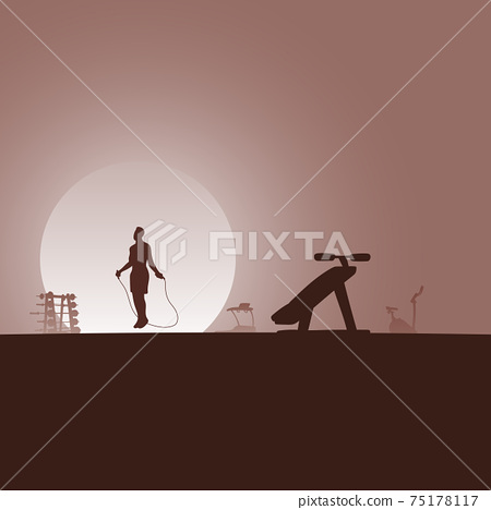 young male athlete skipping rope at gym with equipment in the brown gradient shade background illustration vector. 75178117