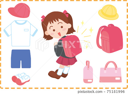 A child carrying a school bag and preparations for elementary school entrance 75181996