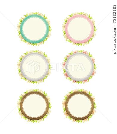圓的木製框架和套花邊和植物。透明的PNG背景 75182185