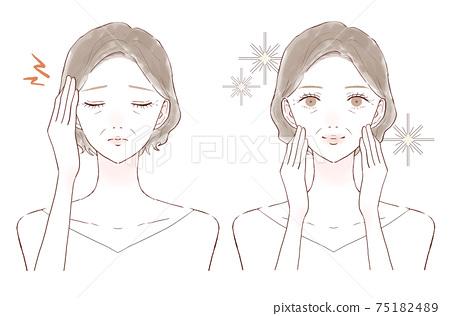 中年女性頭痛前後 75182489