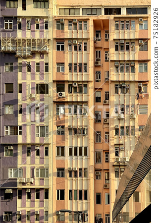 Vertical crowded housing apartment in Hong Kong residential estate 75182926