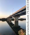 Yodogawa and Bridge at dusk (Yodogawa Shinbashi) 75183339
