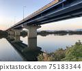 Yodogawa and Bridge at dusk (Yodogawa Shinbashi) 75183344