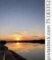Yodo River reflecting the setting sun 75183352