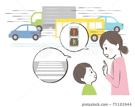 차도를 건너 말라 가르치는 어머니 75183944