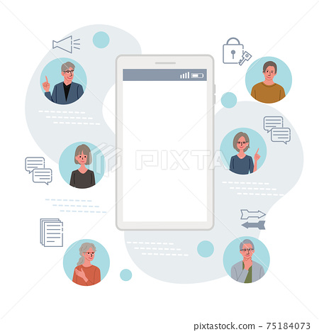 IT 커뮤니케이션 비즈니스 개념 스마트 폰과 수석 일러스트 75184073