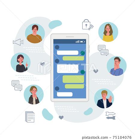 它通信業務概念智能手機和青年插畫 75184076