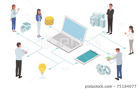 IT communication business concept PC and people's illustrations 75184077