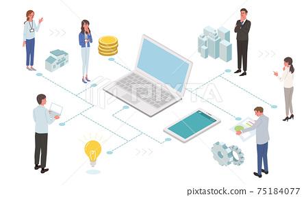 IT通信業務概念PC和人們的插圖 75184077