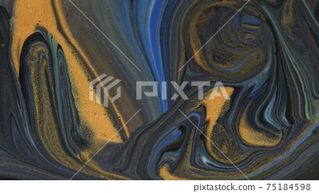 Abstract colorful background of spreading colors. Abstract dark paint background. 75184598