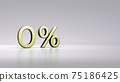 Gold zero percent or 0 % isolated over white background with Clipping Path. 75186425