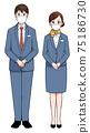 Business scene Men and women wearing basic posture masks 75186730