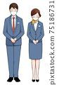 Business scene: Men and women wearing masks apologizing 75186731