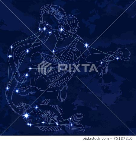 88星座系列B星座圖片和星座線水瓶座和鳳尾魚 75187810