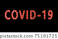 White text covid-19 with red molecules of coronavirus on it on black background. 75191725