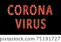 White text corona virus with red molecules of covid-19 on black background. 75191727