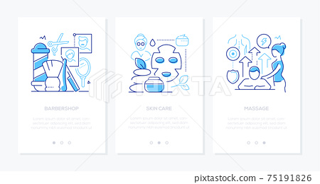 Beauty and wellness - vector line design style web banners 75191826