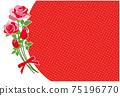 빨간 장미 꽃 프레임 배경 소재 엽서 75196770
