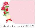 빨간 장미 꽃 프레임 배경 소재 엽서 75196771