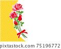 紅玫瑰花框背景素材明信片 75196772