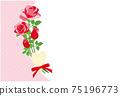紅玫瑰花框背景素材明信片 75196773