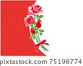 紅玫瑰花框背景素材明信片 75196774