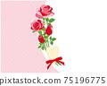 紅玫瑰花框背景素材明信片 75196775