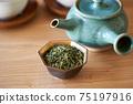 茶葉的綠茶圖像放在一個小碗裡 75197916
