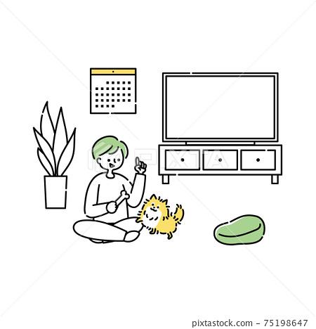 一個人在客廳里和狗一起玩 75198647