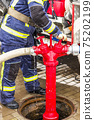fireman turns taps on the hydrant 75202199