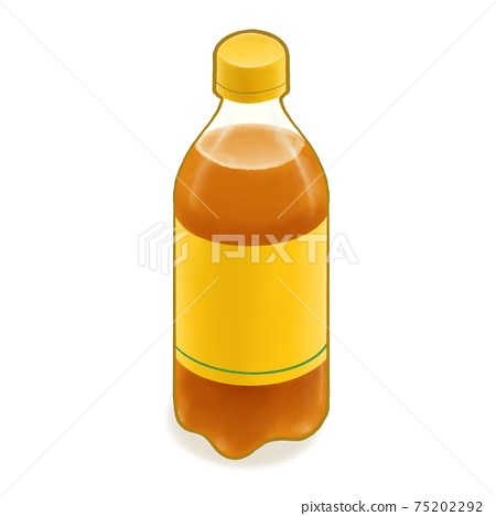 Apple juice soda, a digital painting of yellow plastic bottle of sparkling juicy soft drink beverage isometric cartoon icon raster 3D illustration on white background. 75202292