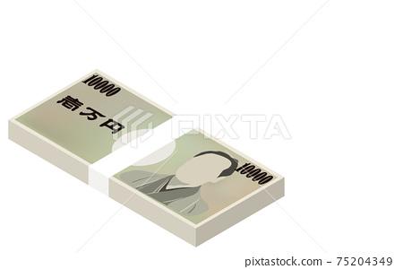 Three-dimensional illustration of a million yen wad, isometric 75204349