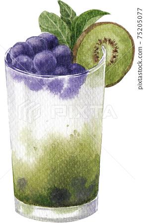 Soda drink mixxed fruits juice watercolor elements 75205077