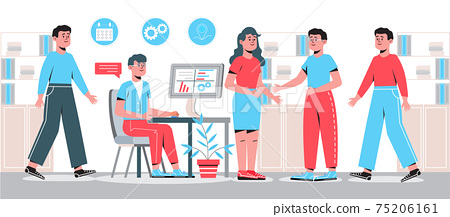 Office interior is shown. Successful teamwork concept vector. Employee is sitting at the table. Brainstorming is up. Coworkers are working. Business meeting 75206161