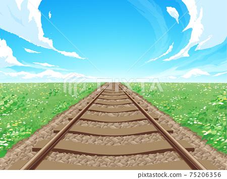 直的鐵路和草地landscape_spring_background圖 75206356
