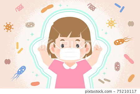 A strong healthy girl being protected from Viruses, Bacteria, Dust, Smoke, Germs With a mask illustration vector. Health Care Concept. 75210117