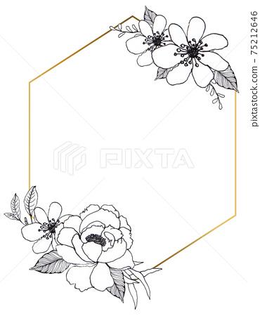 Flower line art  wreath 75212646